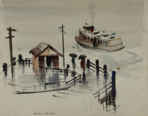 An image of The ferry by Ronald Hewison Steuart