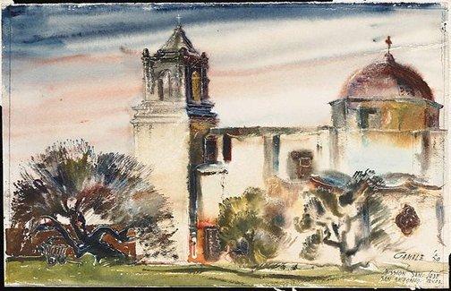 An image of Dusk at San Jose, Texas by Allan Allman Gamble