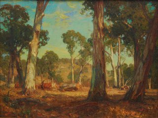 Hauling timber, (1911) by Hans Heysen