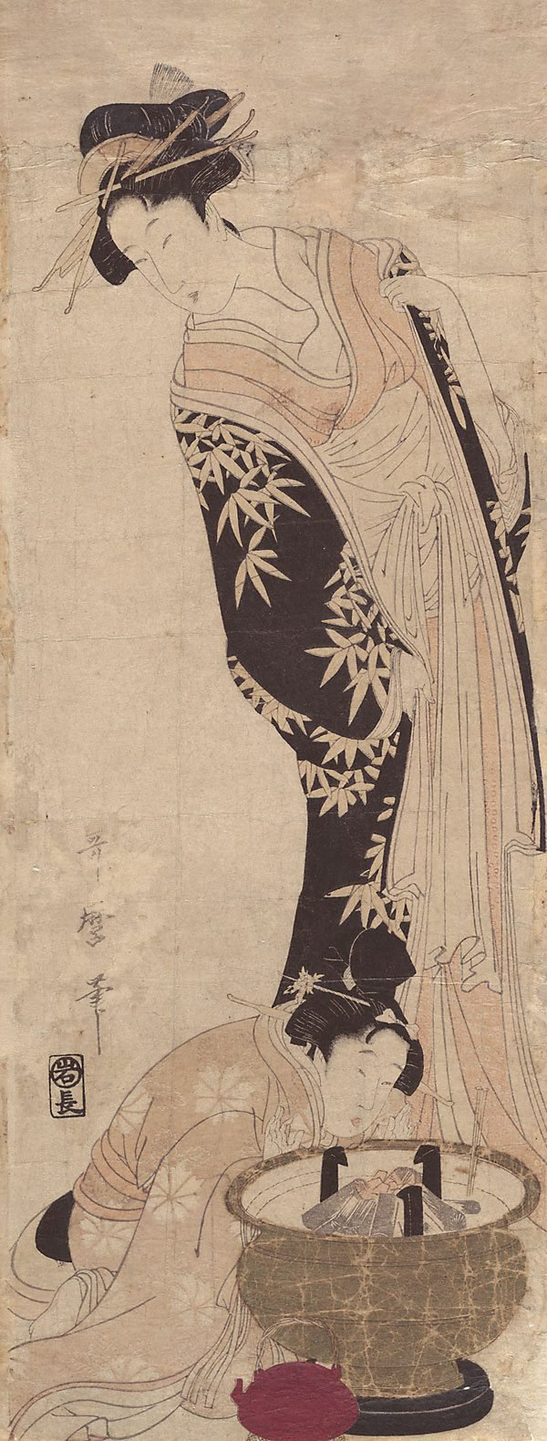 An image of (Courtesan with girl making fire)