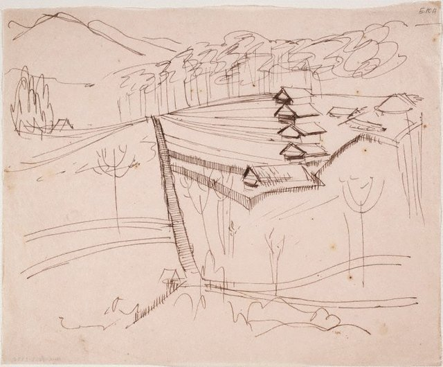 An image of (Houses on a hill with fences) (Landscapes and natives from New Guinea)