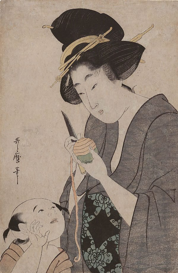 (Mother with child peeling a persimmon), (18th century-19th century) by Kitagawa UTAMARO