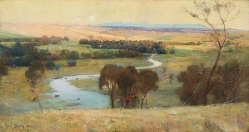 An image of 'Still glides the stream, and shall for ever glide' by Arthur Streeton