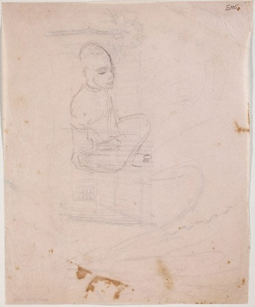 An image of (Figure sitting cross legged) (Landscapes and natives from New Guinea) by William Dobell