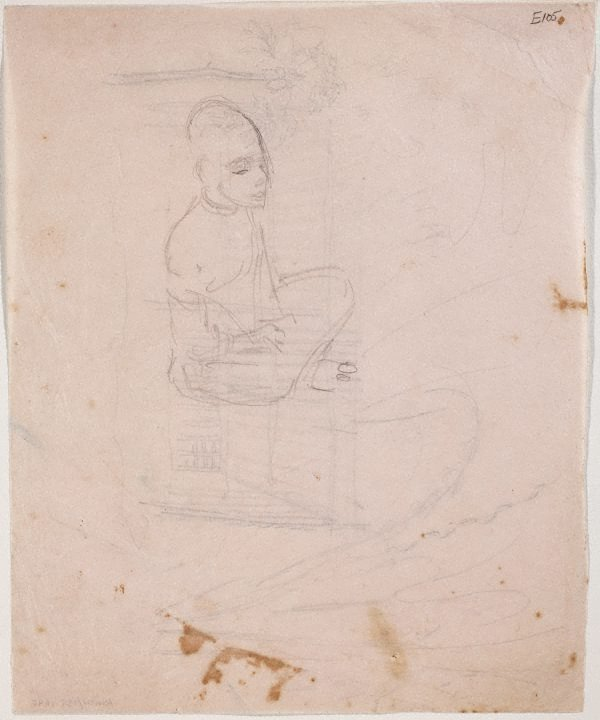 An image of (Figure sitting cross legged) (Landscapes and natives from New Guinea)