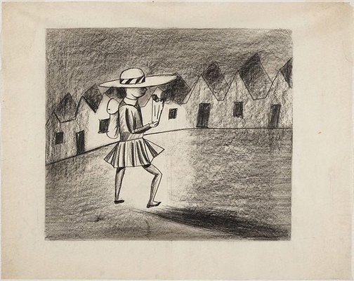 An image of Stepping out by Charles Blackman