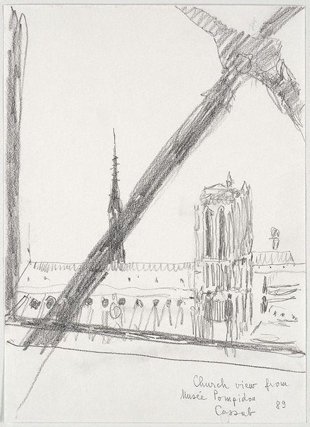 An image of Church view from Musée Pompidou by Judy Cassab