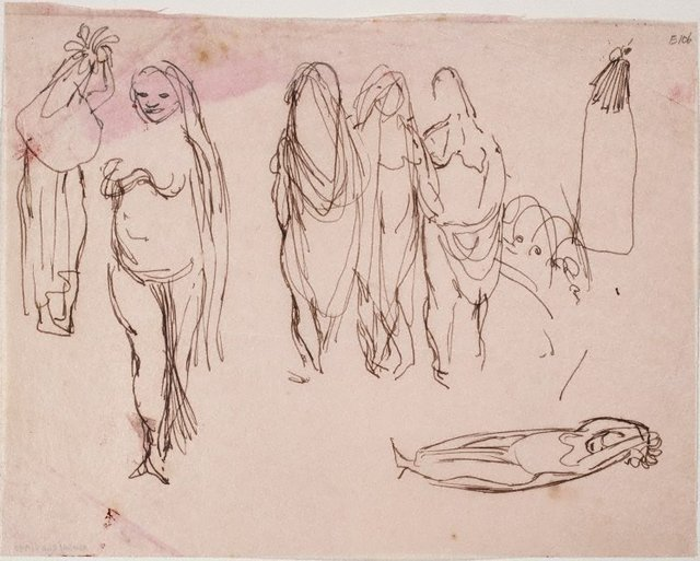 An image of (Female figure studies) (Landscapes and natives from New Guinea)