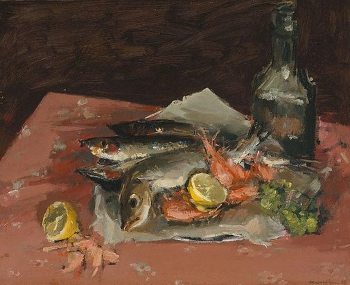 An image of Still life: fish and bottle by Rodrigo Moynihan