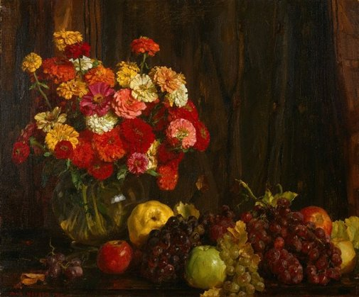 An image of Flowers and fruit (zinnias) by Hans Heysen