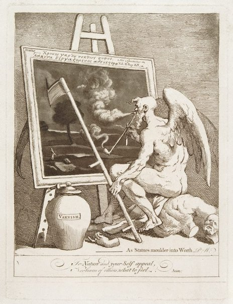 An image of Time smoking a picture by William Hogarth