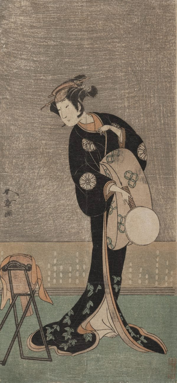 An image of (The actor Nakamura Noshio I in the role of a lady looking into the mirror)