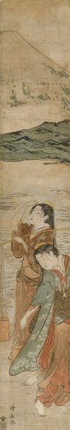 An image of (Girls carrying water for salt-making) by Kiyonaga Torii