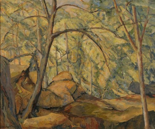 An image of Bush landscape with rocks by Jean Appleton