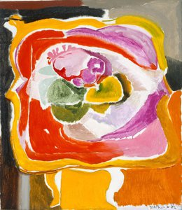 Ornamental card-table and flowers, (1952) by Ivon Hitchens