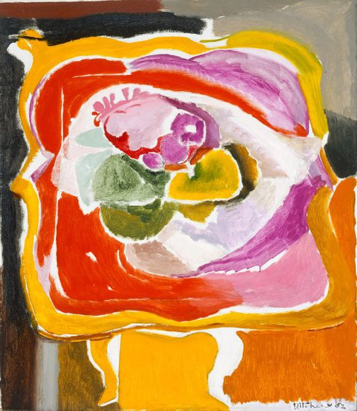 An image of Ornamental card-table and flowers by Ivon Hitchens