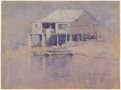 An image of The boat house by J J Hilder