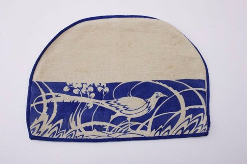 An image of Tea cosy cover with lyrebird design by Ernest Quick, Molly Quick