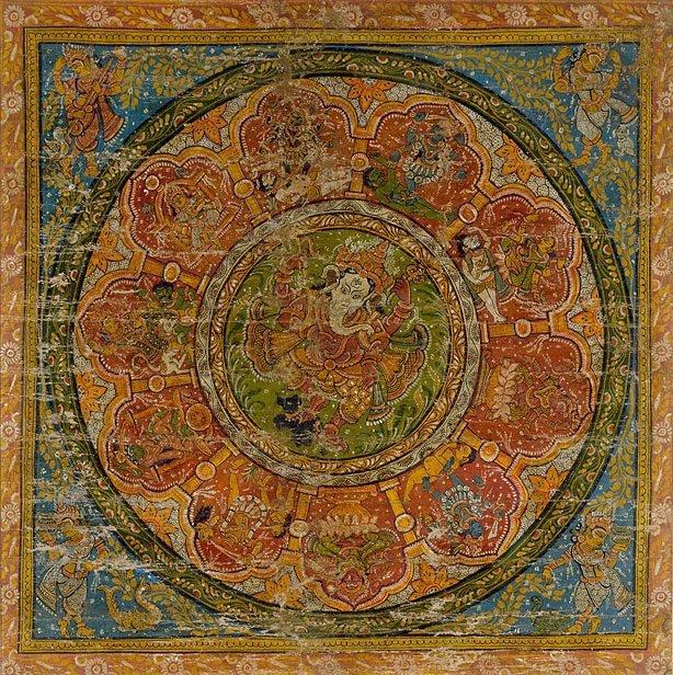 An image of Dancing Ganesh and the Mahavidyas