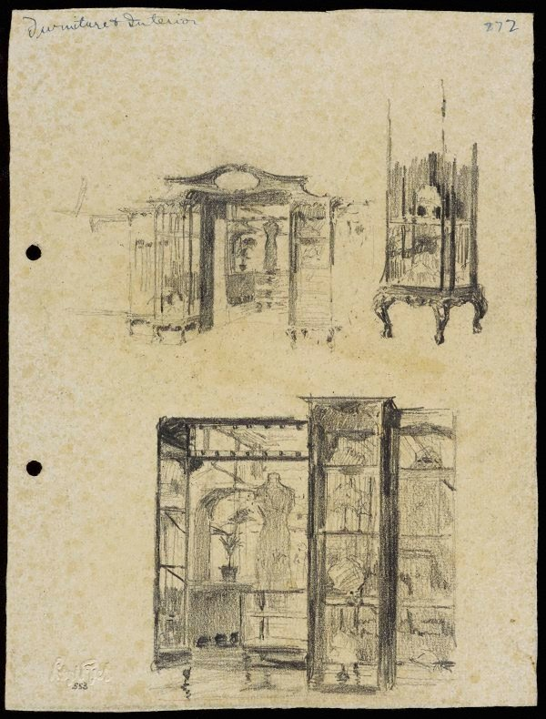 An image of recto: Shop furniture and interior verso: Man sketching, the harbour [top] and the same figure [centre, upside down]