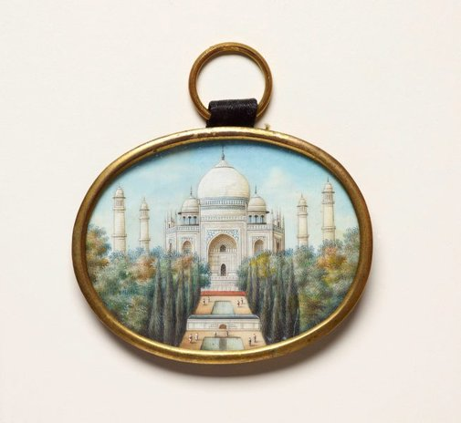 An image of Painting of the Taj Mahal on ivory by