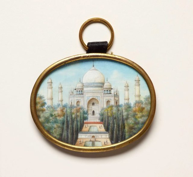 An image of Painting of the Taj Mahal on ivory