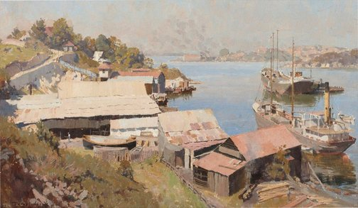 An image of Shipyards, Berry's Bay by Percy Lindsay