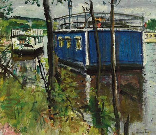 An image of Blue houseboat, Loch Lomond by George Leslie Hunter