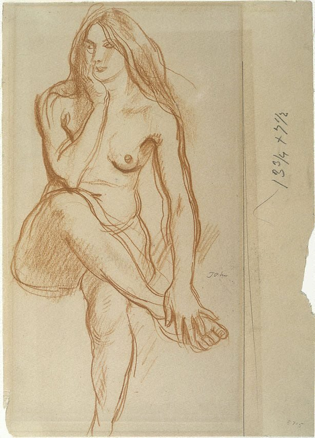 An image of Study of a seated nude
