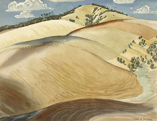 An image of Cultivation paddocks on Mt Emlyn by Kenneth Macqueen