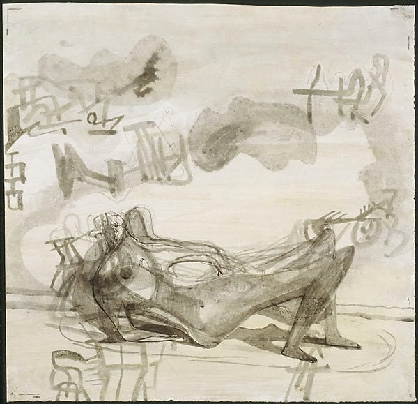 An image of Reclining figure: drawing for sculpture
