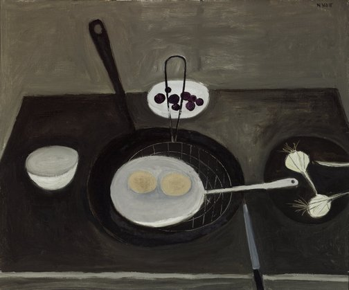An image of Frying pan and eggs by William Scott