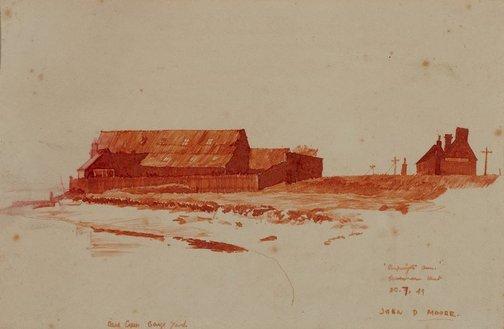 An image of (Oare?) Creek barge yard by John D. Moore