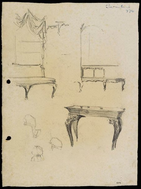 An image of recto: Furniture verso: Shop fittings and dummies by Lloyd Rees