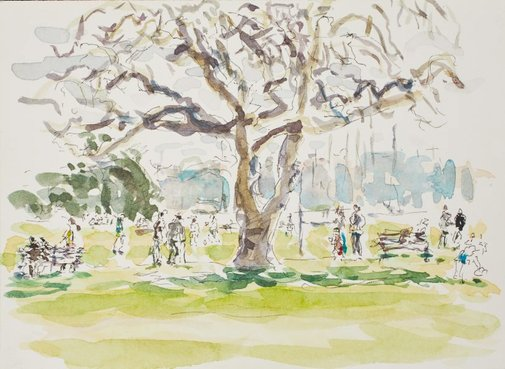 An image of Sunday at the park, Rushcutters Bay by Tom Carment