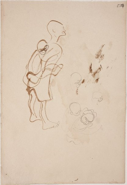 An image of (Figure carrying child on back) (Landscapes and natives from New Guinea) by William Dobell