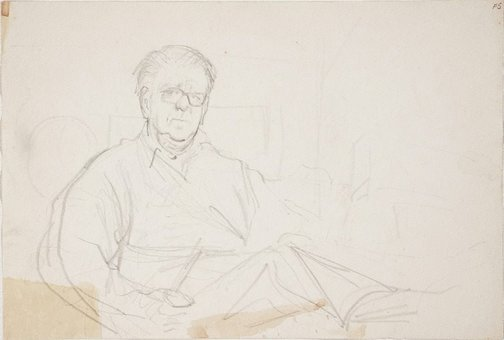 An image of (Portrait study of man with glasses) (Late Sydney Period) by William Dobell