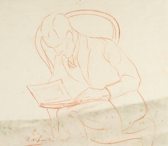 An image of Portrait study: Man in a chair, reading a book