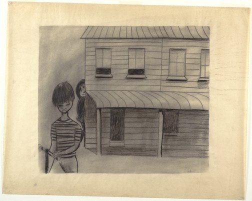 An image of (Children playing by terrace houses) by Charles Blackman