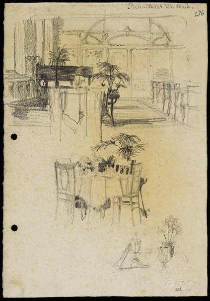 An image of recto: Shop restaurant interior with grand piano and table setting verso: Shop restaurant with details by Lloyd Rees