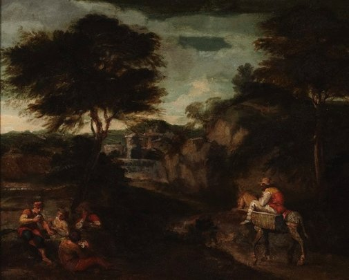 An image of Landscape with card players by Unknown
