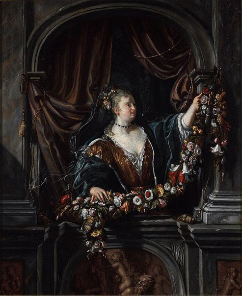 An image of Woman with garland of flowers by Matthijs Naiveu