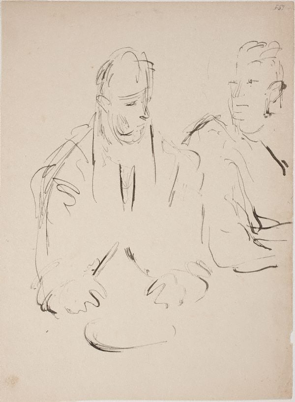 An image of (Two figures eating) (Late Sydney Period)