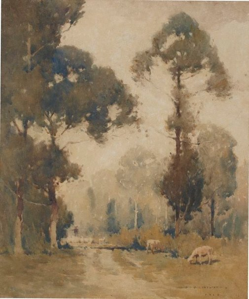 An image of Landscape with sheep by J J Hilder