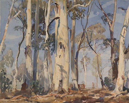 An image of Gums in sunlight by Hans Heysen