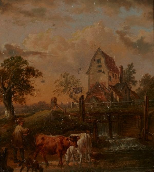 An image of Landscape with cattle and mill