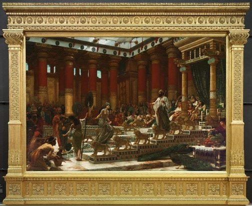 An image of The visit of the Queen of Sheba to King Solomon by Sir Edward John Poynter