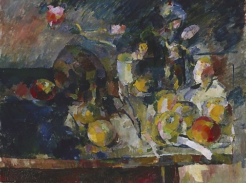An image of Poppies, fruit and skull by John Passmore