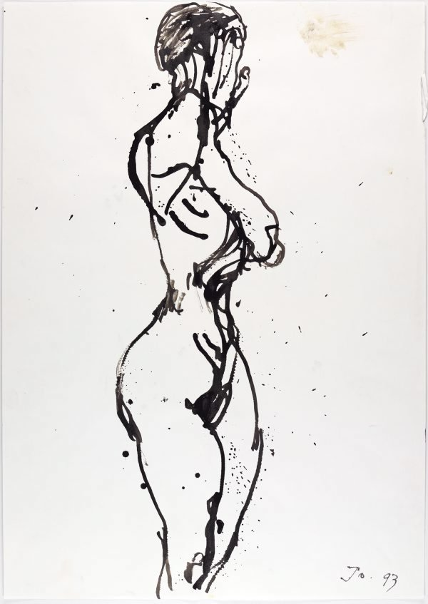 An image of Standing female nude, hands to her face