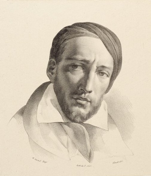 An image of Portrait of Gericault by F. Noel, after Horace Vernet